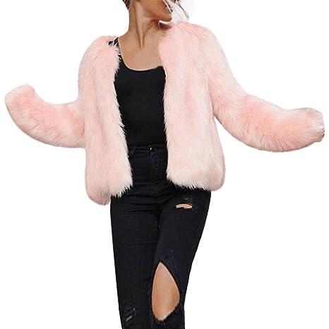 Hirolan Frau Faux Pelz Kurzer Mantel Winter Warm Pelzjacke Lange Hülse Oberbekleidung Nachahmung Pelz Mantel Rosa Weste Jacke