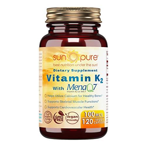 Vegetable 100 Capsules Mcg (Sun Pure Premium Quality Vitamin K2 100 mcg Veggie Capsules Glass Bottle 120 Count)