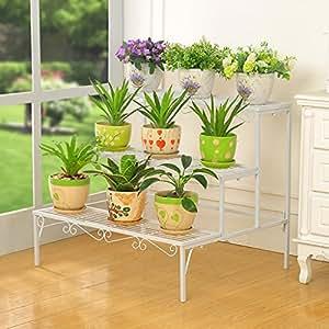 Estantes de flor de hierro Marco de flores de hierro Piso - Estilo Balcón de varios pisos Salón de interior y exterior Flower Pot Rack Decorativo estante balcones de hierro ( Color : 3* )