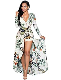 Women's V Neck Floral Chiffon Maxi Dress Overlay Rompers...