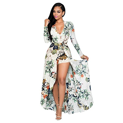 12f568b4d3b4 Women Long Sleeve Floral Chiffon Maxi Dress Overlay Rompers Playsuit  Apricot XXL - Buy Online in UAE.
