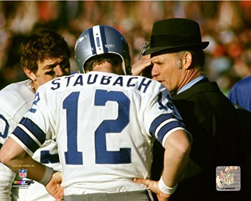 Roger Staubach & Tom Landry Dallas Cowboys Action Photo (Size: 16