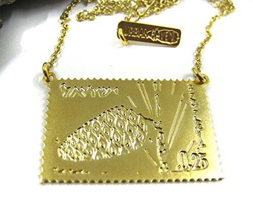 Retro Handmade Plated Gold Postal Stamp Charm, Short Statement Necklace,