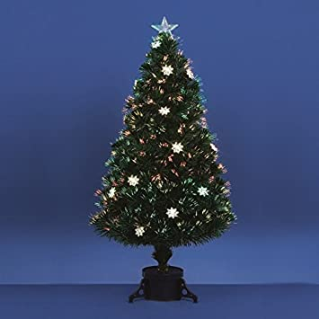 Premier Fibre Optic Christmas Tree with Silver Flowers 60cm ...
