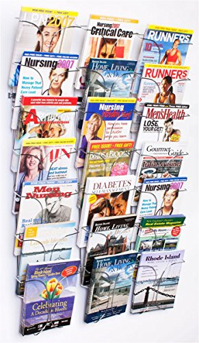 Literature Storage Racks, 21-Pocket Brochure Holders for 8.5 x 11 Magazines, Wall Mounted - Chrome Finish