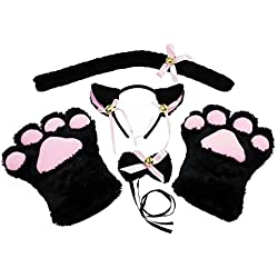 abcGOODefg Cat Cosplay Set Plush Gloves Cat Kitten Ears Tail Collar Paws Party Costume Set (Black)
