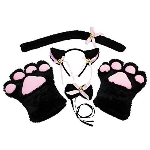 abcGOODefg Cat Cosplay Set Plush Gloves Cat Kitten Ears Tail Collar Paws Party Costume Set (Black) -
