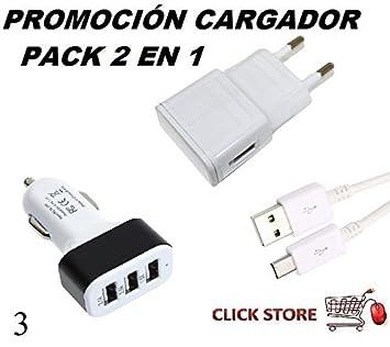 Cargador pack 2 en 1, cable + hogar + coche 2A Pack 3 para ...