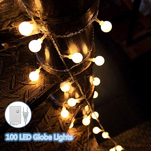 Globe String Lights, 100 LED Ball Lights with Controller, Plug in String Lights, Waterproof Warm White Lights for Christmas Wedding Indoor Outdoors Parties Garden Patio and Home Decor (33 Ft) from Dust2Oasis