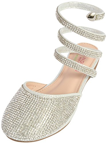 Angels New York Girls Gladiator Sandals with Memory Foam Insole, Silver, 8 M US -