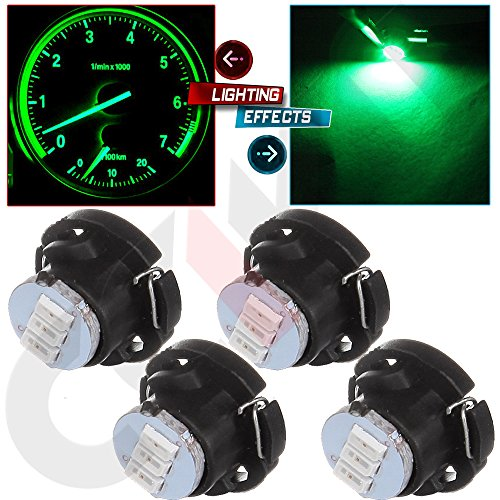 Climate Ford Control (cciyu T5/T4.7 Neo Wedge A/C Climate Control Light Bulbs Super Green 3014 SMD T5 LED Instrument Dash Light,4 Pack)