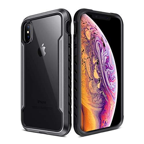 Apple Iphone Aluminum Case - iPhone X & iPhone Xs Case, XchuangX Defender iPhone Case Anodized Aluminum, TPU, Clear PC, Military Grade Machined Metal Protective Case for Apple iPhone Xs, iPhone X, iPhone 10 (Black)