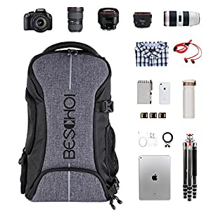 Camera Backpack, Beschoi Waterproof Camera Bag with Tripod Strap and Rain Cover Large Capacity Rucksack for Digital SLR Camera, Speedlite Flash, Camera Tripod, Laptops, Lens and Accessories