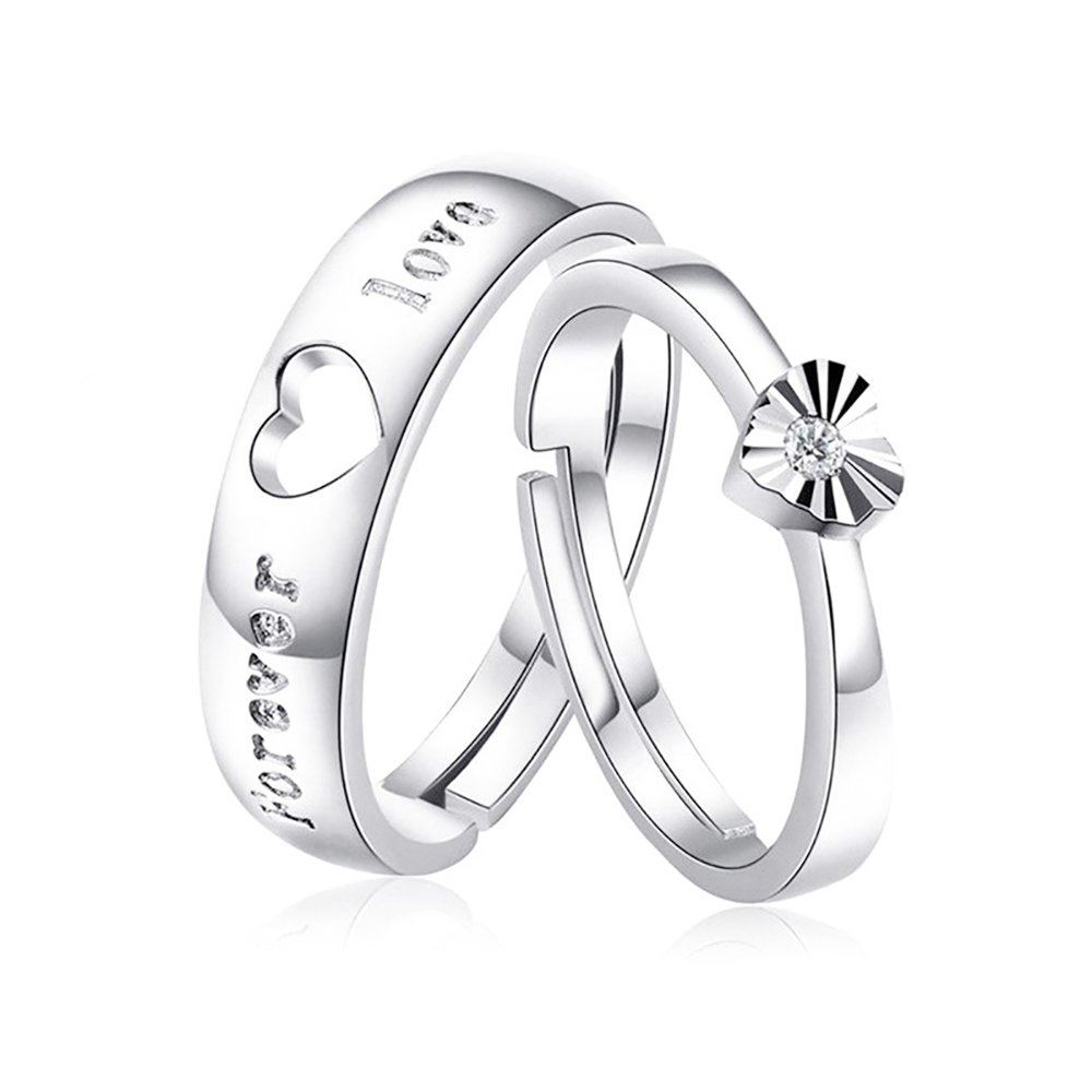 Tidoo Jewelry Women's 925 Sterling Silver Adjustable Rings Wedding Band Sets Heart Promise Rings for Couples LM-5201