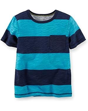 Carter's Boy's S/S Blue Striped Tee (3 Months)