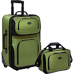 US Traveler Rio Two Piece Expandable Carry-On Luggage Set, Green new 2 - One Size