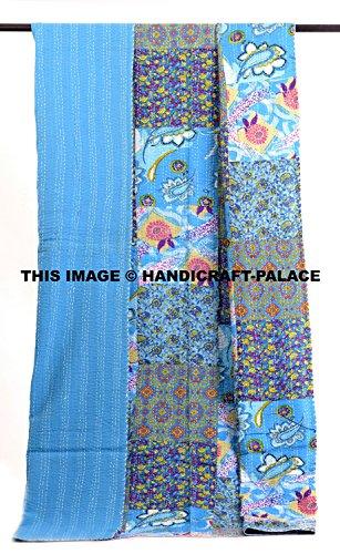 HANDICRAFT-PALACE Indian Cotton Handmade Patchwork Quilt Throw Bohemian Ethnic Hippie Bedspread Ralli Kantha Work Quilt Patchwork Ethnic Quilted Gudari