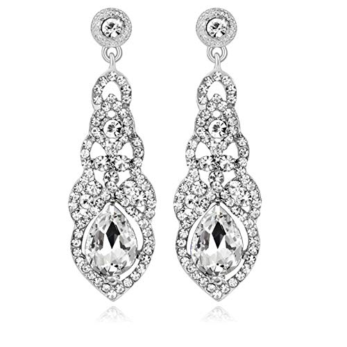 YINLI Austrian Crystal Rhinestone Bridal Wedding Dangle Earrings for Women Fashion Jewelry (Style 06) ()