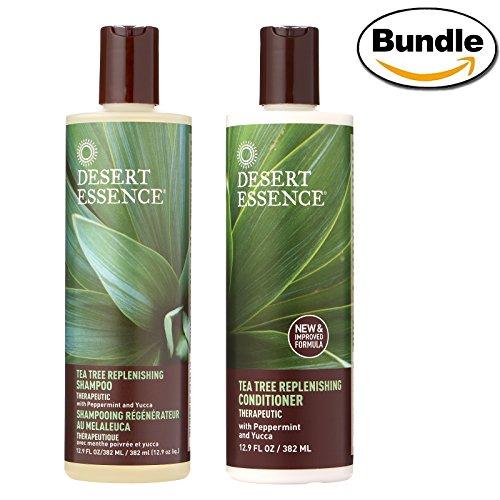 Desert Essence Tea Tree Replenishing Shampoo and Conditioner Bundle - 12.9 fl oz