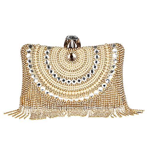 iamond Shoulder Crossbody Bags Gold Clutch Beaded Tassel Evening Bags Party Purse Banquet Handbags ()