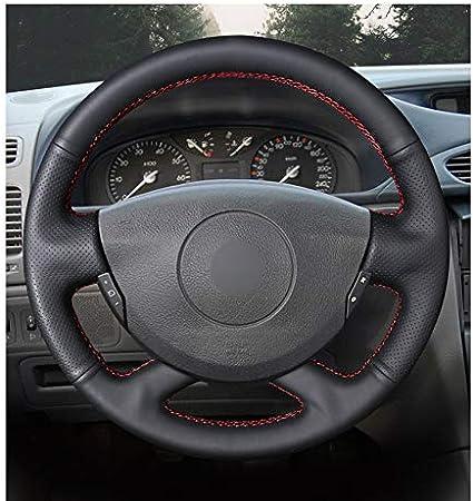 DBBXYQ Couvre Volant en Cuir Noir Cousu Main pour Renault Laguna 2001 2007 Vel Satis 2001 2005 Trafic 2012