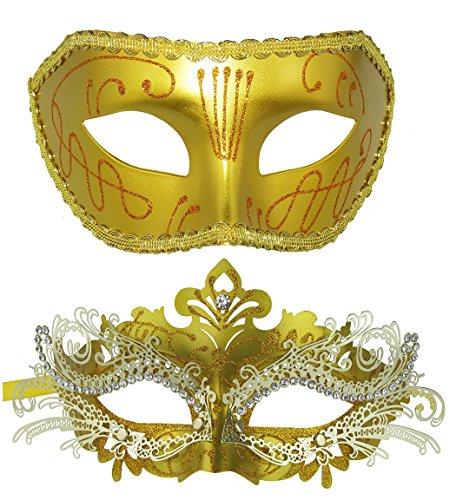 Couple Masquerade Metal Masks Venetian Halloween Costume Mask