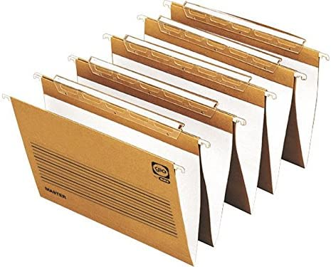 Ybarra 400021905 - Caja de 25 carpetas colgantes, visor superior, folio, lomo en V: Amazon.es: Oficina y papelería