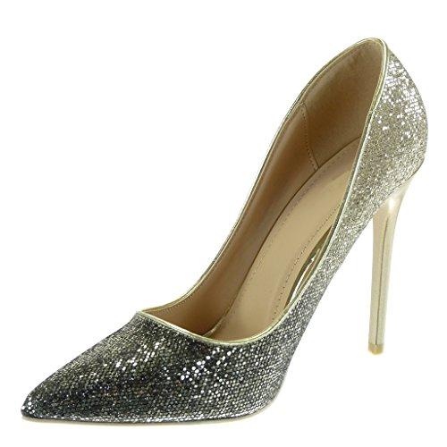 Angkorly - damen Schuhe Pumpe - Stiletto - Dekollete - glitzer - golden - glänzende Stiletto 11 CM Gold
