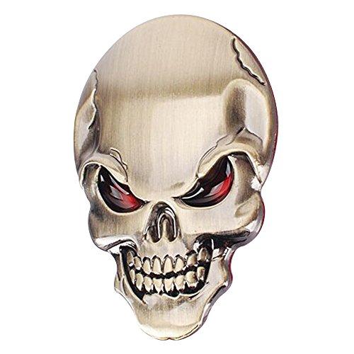 Baiyu 3D Skull Alloy Metal Car Motorcycle Sticker Skeleton Bone Emblem Badge Decal Car Styling Accessories Size 3.45cm--Bronze