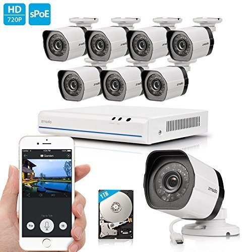 Zmodo 8CH HDMI NVR Simplified PoE Surveillance Video Security Camera System With 8x720p HD Weatherproof Cameras 1TB HD Remote Access Motion Detection by Zmodo