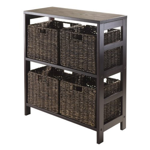 Luxury Home Granville Espresso 5-piece Storage Shelf with 4 Foldable Baskets by Luxury Home