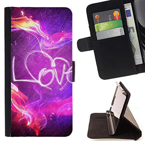 God Garden - FOR Apple Iphone 4 / 4S - Love - Glitter Teal Purple Sparkling Watercolor Personalized Design Custom Style PU Leather Case Wallet Fli