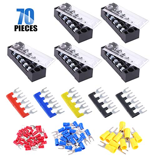 Glarks 70Pcs(5Sets) Terminal Block Set, 5Pcs 5 Positions 600V 15A Dual Row Screw Terminals Strip + 5Pcs Pre-Insulated Barrier Strips + 60Pcs Insulated Fork Wire Connector (5P+Fork Connector)