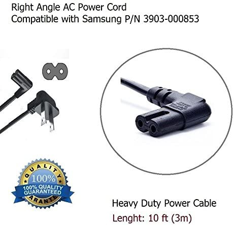 10 Foot Right Angle Replacement AC Power Cord Cable Compatible with Samsung Sony LG Vizio TV Samsung 3903-000853