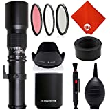 Opteka 500mm/1000mm f/8 Manual Telephoto Lens for Canon EOS 80D, 70D, 60D, 60Da, 50D, 40D, 30D, 1Ds, Mark III II, 7D, 6D, 5D, 5DS, Rebel T6s, T6i, T6, T5i, T5, T4i, T3i, T3 and T2i Digital SLR Cameras