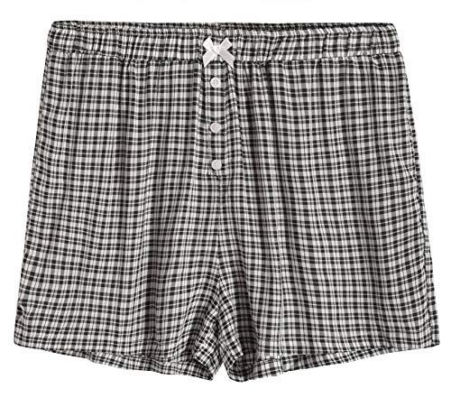(Latuza Women's Sleepwear Cotton Plaid Pajama Boxer Shorts L Black)