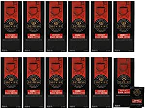 Bosmino 12 Boxes Arabica Black Coffee Cafe Nior Nero Ganoderma Coffee Sugar Free (1 Box: 30 Sachets)