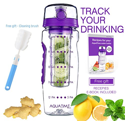 Time Marked Fruit Infuser Water Bottle AQUATIME Large 32 oz – Free Brush For Easy Clean – Convenient To Carry - Leak Proof - FDA Approval BPA Free & Eco – Friendly Tritan Copolyester Plastic