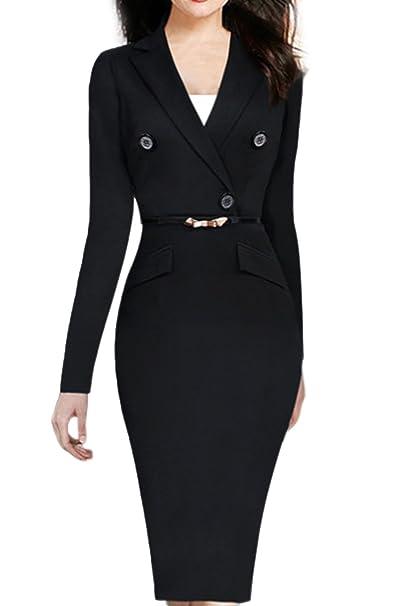 Amazon.com: Mujer elegante manga larga botones decoración ...