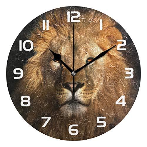 TropicalLife Animal Lion Decorative Wall Clock Acrylic Round Clocks Non Ticking Art Decor Bedroom Living Room Kitchen Bathroom Office School