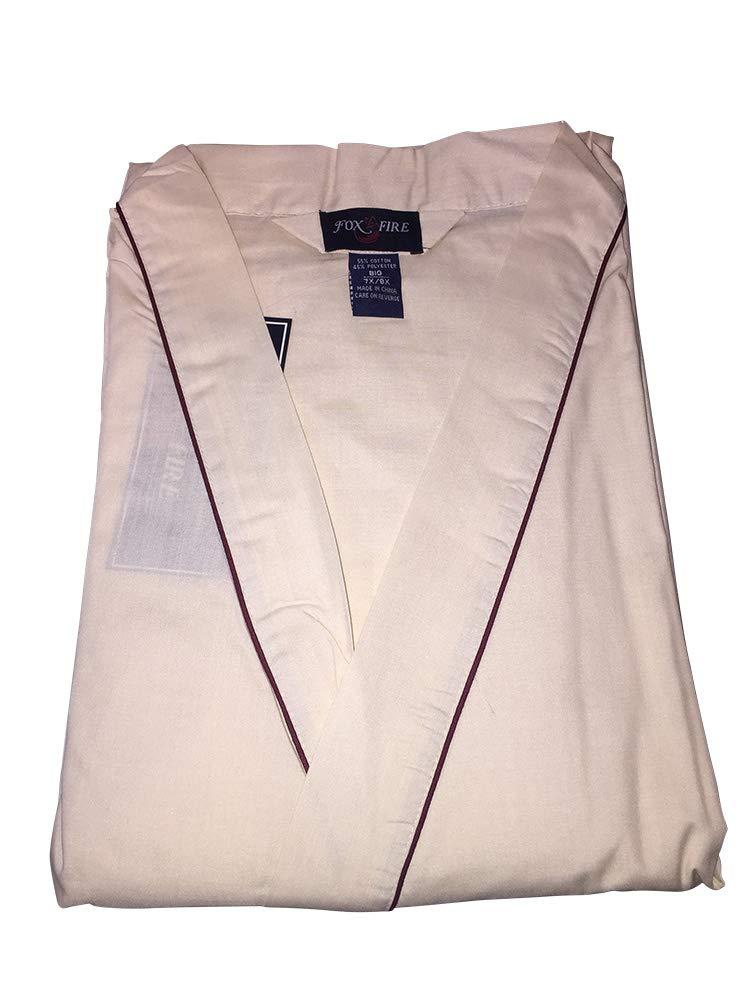 Foxfire Big Men's Tan Lightweight Broadcloth Kimono Robe to 8X Big (Tan, 7X/8X)