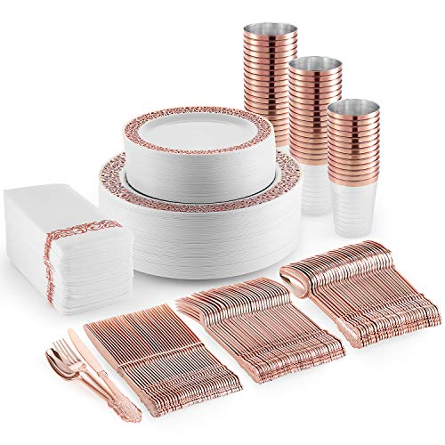 Rose Gold Plastic Dinner Plates, Disposable Dessert Plates, 350 Plastic Dinnerware Set – Cups, Rose Gold Silverware and…