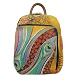 Anuschka Hand Painted Genuine Leather Sling Over Travel Backpack (Dancing Peacock)