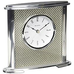 Bulova Hewitt Office Clock, Silver