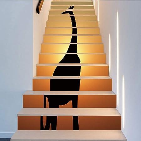 Pegatinas de escaleras Simulación Negro Jirafa Escalera Pegatinas de pared Decoración para el hogar Extraíble autoadhesivo DIY Etiqueta de la escalera Inicio Escaleras Decoración (18cm * 100cm, 13 pie: Amazon.es: Hogar
