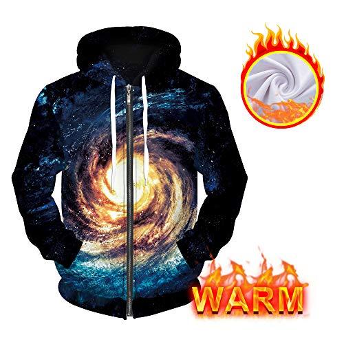 Unisex 3D Printed Plus Velvet Galaxy Hoodie Sweatshirt Zipper Pullover Pocket Jackets ()