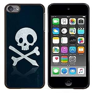 TECHCASE---Cubierta de la caja de protección para la piel dura ** Apple iPod Touch 6 6th Touch6 ** --Pirata del cráneo sesión Huesos Emblema Arte Slogan