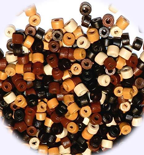 New Assorted Earthtone Brown 4mm Round Heishi Rondelle Wood Spacer 30gm DIY Craft Supplies for Handmade Bracelet - Earthtone Gems