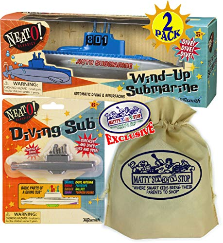 Toysmith Classic Wind-Up Submarine & Diving Sub Gift Set Bundle with Bonus Matty's Toy Stop Storage Bag...Perfect Bath, Pool, Beach Etc. - 2 Pack ()