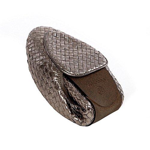 Clapham Pewter Foldable Pumps Leather Ballet Cocorose Shoes Ladies RfZqF4w